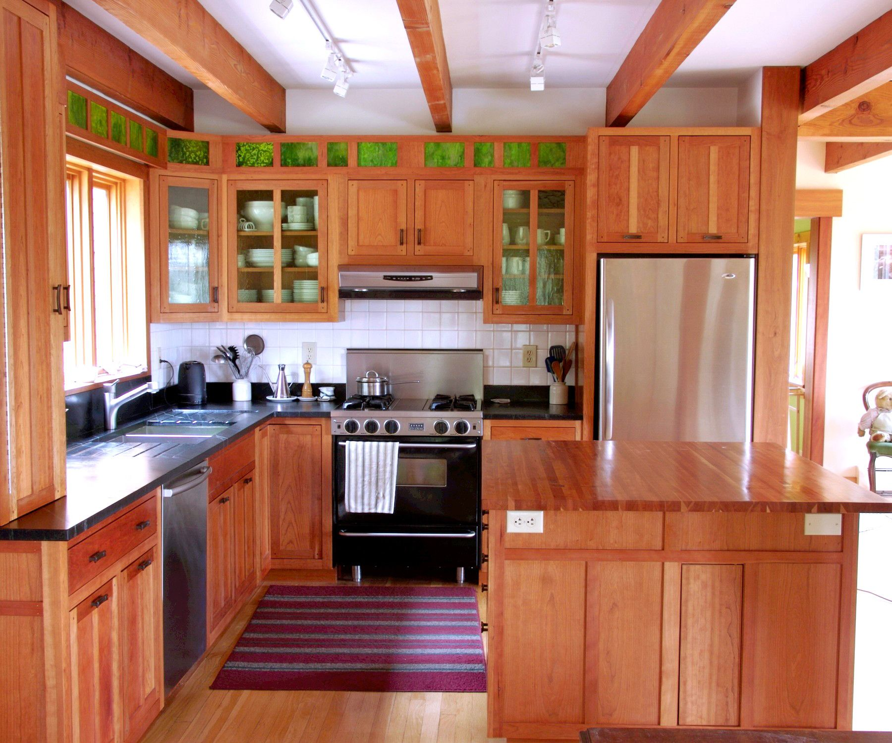 Cherry Modern Arts And Crafts Cabinetry With Stained Glass Kitchen Craft Cabinets Kitchen Cabinets Kitchen Cabinetry