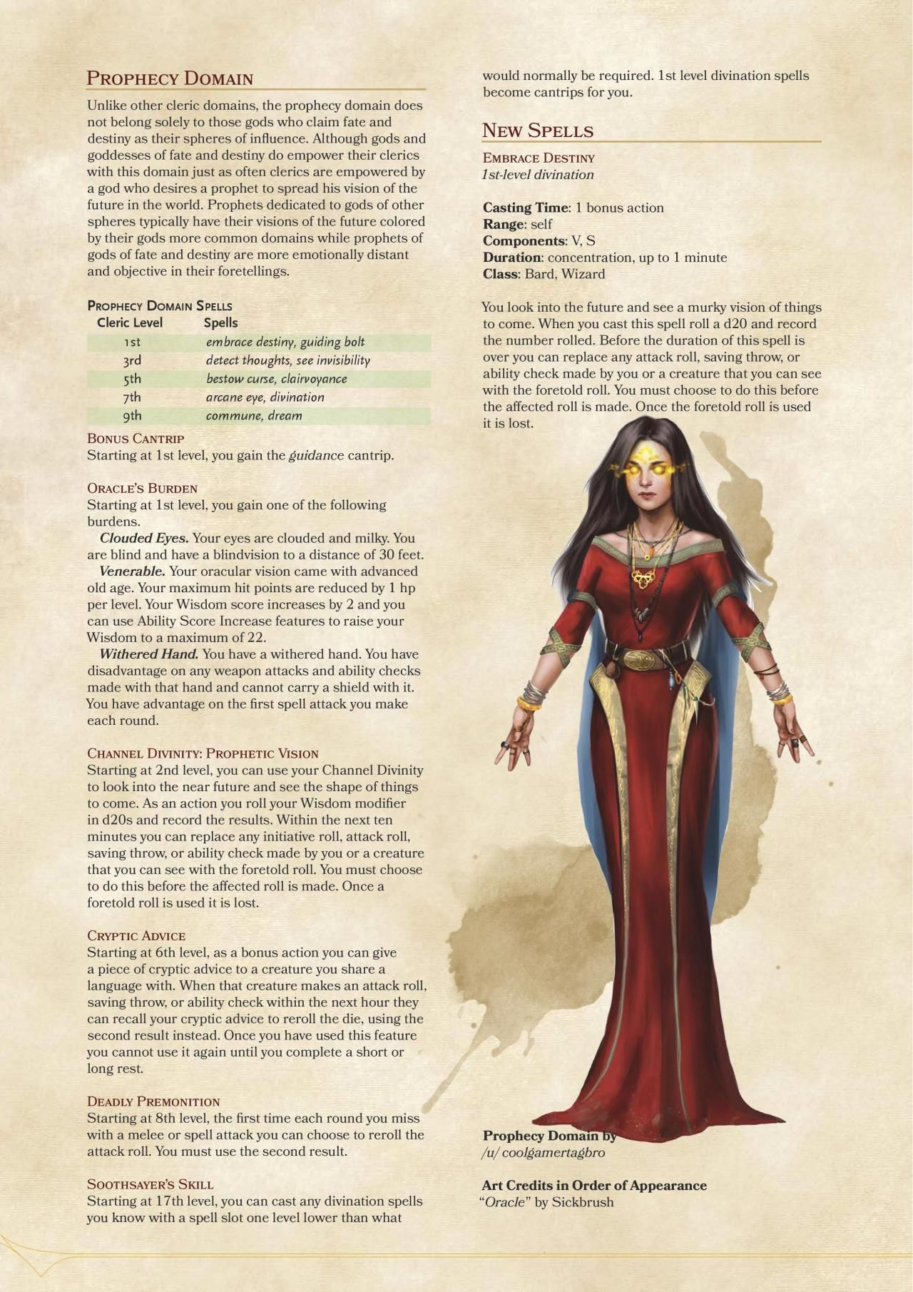 DnD 5e Homebrew — Prophecy Domain Cleric and Way of the