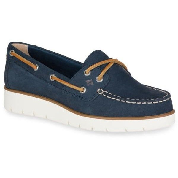 Sperry Navy Azur Cora Nubuck Leather Boat Shoe ($95) ❤ liked on Polyvore  featuring