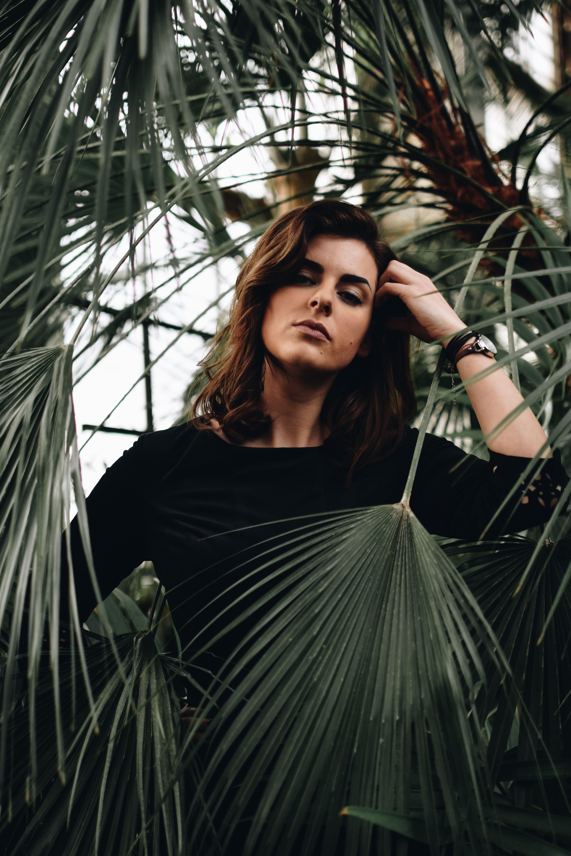 Annija Veldre Photography model portrait photoshoot botanical garden greenery palm fashion #botanicgarden