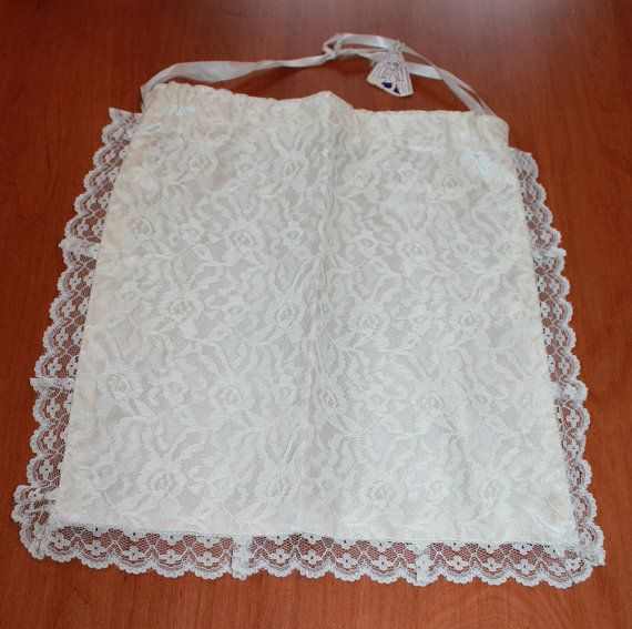 Vintage Bride's White Lace Draw String Bag by ilovevintagestuff