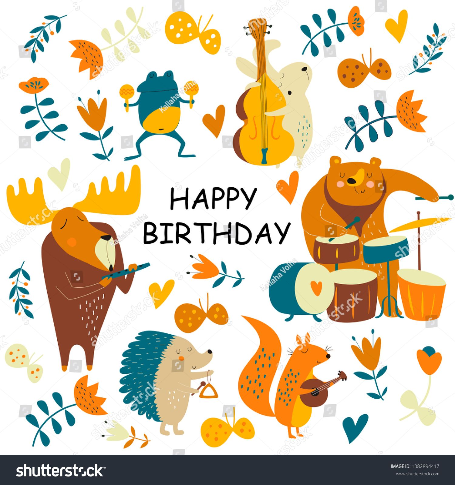 Birthday Card With Cute Animals Playing The Musical Instruments Cartoon StylecuteanimalsBirthdaycard