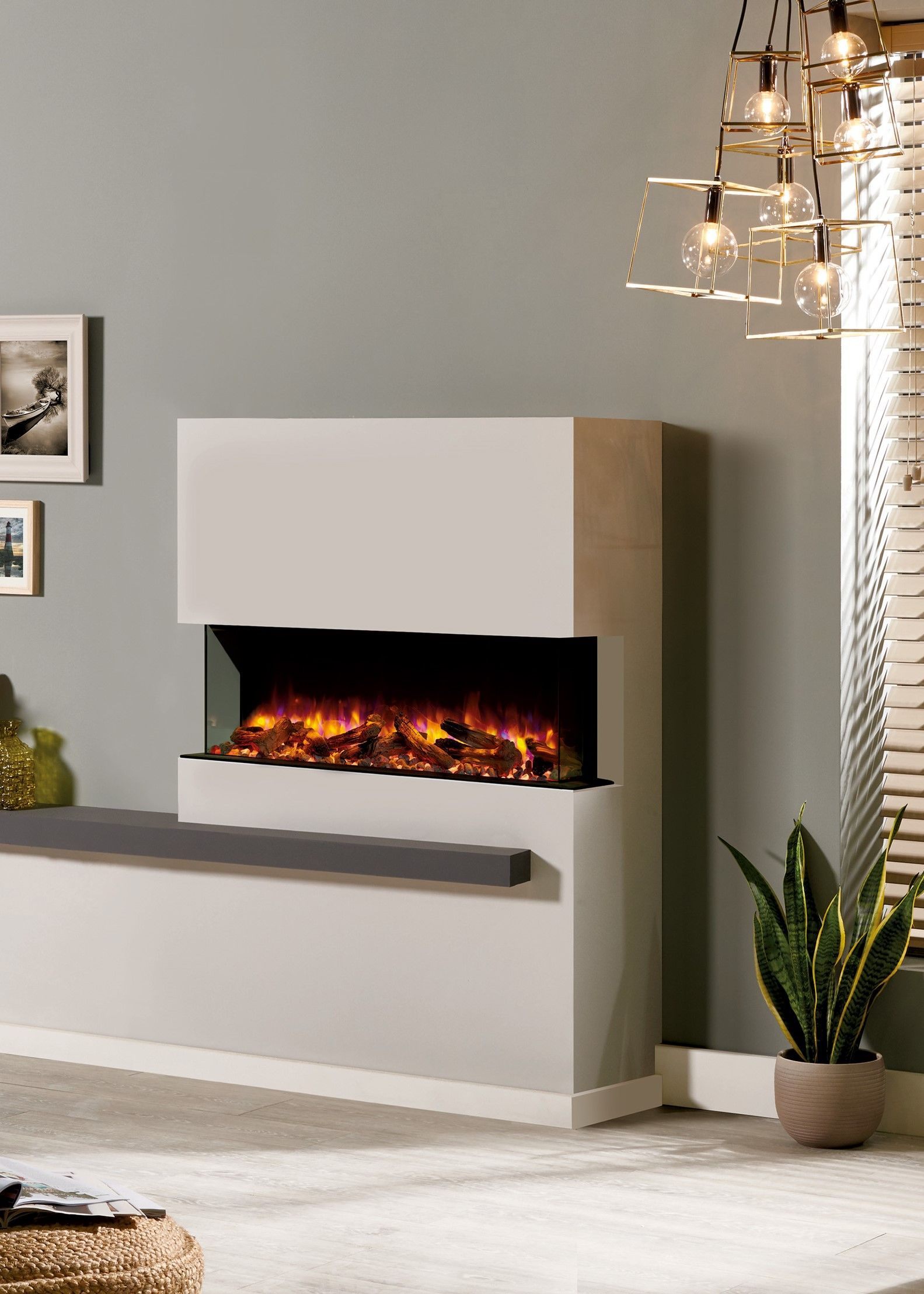 Designed To Offer A Multi Sided View Of The Fire The Skope 3 Sided Model Can Be I Corner Electric Fireplace Electric Fireplace Contemporary Electric Fireplace