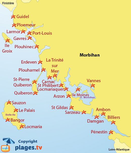 Carte Bretagne Erdeven.Carte Des Plages Du Morbihan 56 En Bretagne France En 2019
