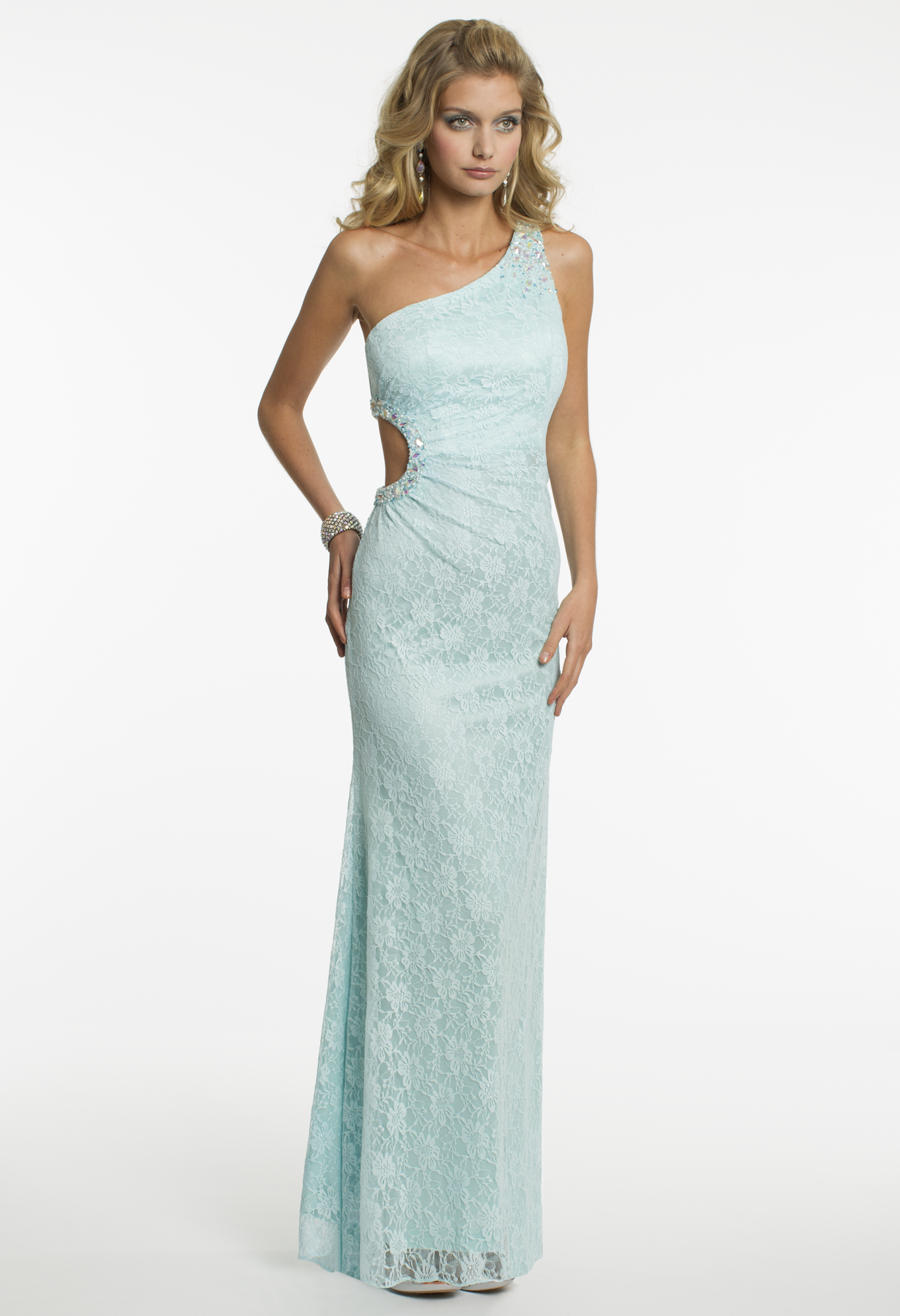 Green dress one shoulder  Camille La Vie One Shoulder Lace Prom Dress with Side Cut Out  LACE