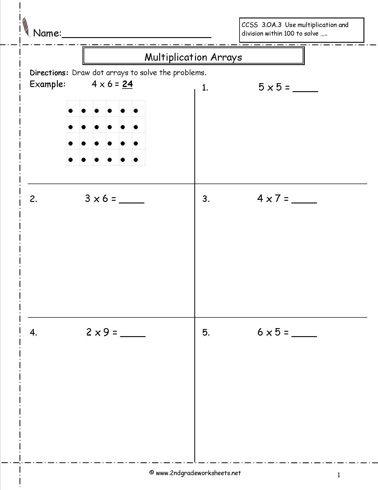 Multiplication Arrays Worksheets