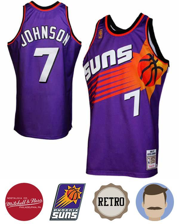 1cc14d3bf Support your favorite team in comfort with the Men s Mitchell   Ness Phoenix  Suns  7 Kevin Johnson Purple Throwback Jersey! This pro-quality licensed  jersey ...