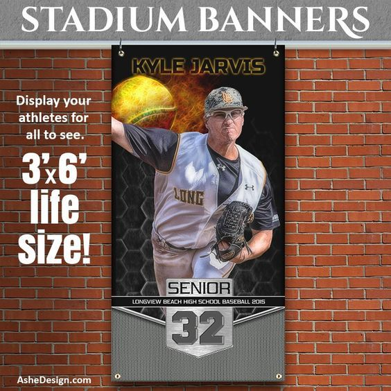 Ashe Design | Amped Stadium Banner 3'x6' | Great Balls Of Fire Baseball/Softball. Present these multi-use, large-format vinyl banners to sports booster clubs to get new business and sell more products. Sports teams and clubs will love all the ways these banners can be used. Visit www.ashedesign.com for more ideas.