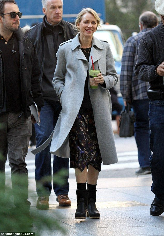 Beaming beauty: Naomi Watts, 48, looked the picture of contentment while on set of her for...