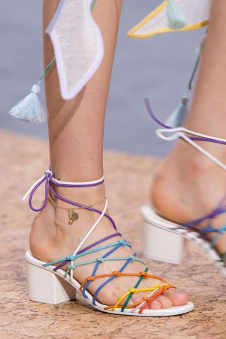 The top shoe trends for spring: huarache. See what else was trending on the runways on BAZAAR.