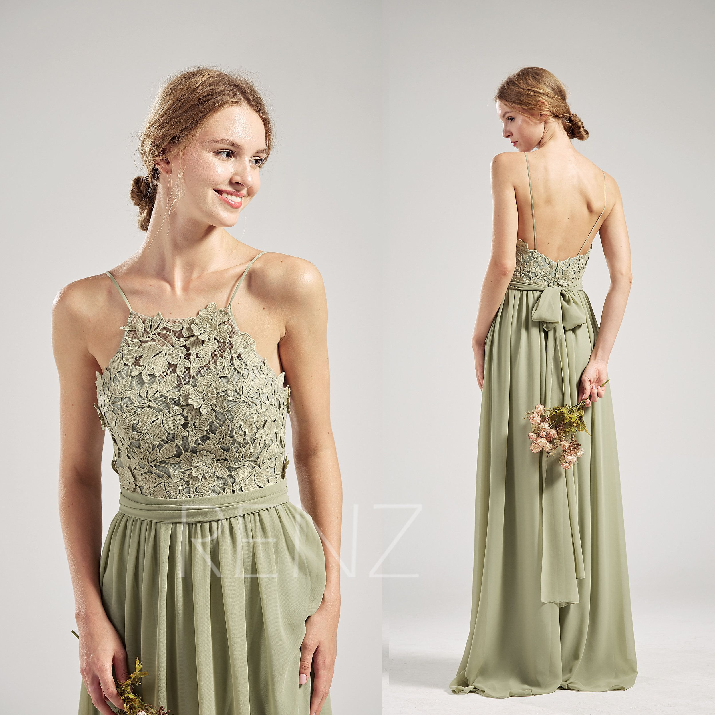 Party Dress Olive Green Bridesmaid Dress Lace Wedding Dress Spaghetti Straps Backless Prom Green Bridesmaid Dresses Lace Olive Green Bridesmaid Dresses Dresses