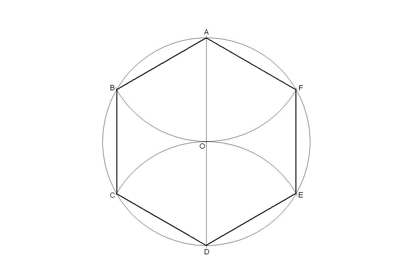 Hexágono Regular Inscrito En Una Circunferencia Hexagono Geometria Desenho