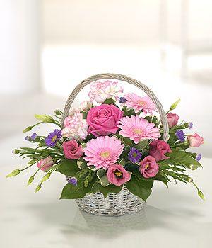 Gift Of Flowers Same Day Delivery Standard Sized Basket In Soft Colours Other C Basket Flower Arrangements Spring Floral Arrangements Flower Arrangements