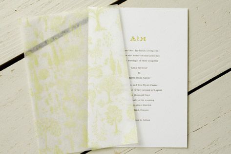 Tissue Paper Printed Patterned Vellum Overlay Invitation Heaven