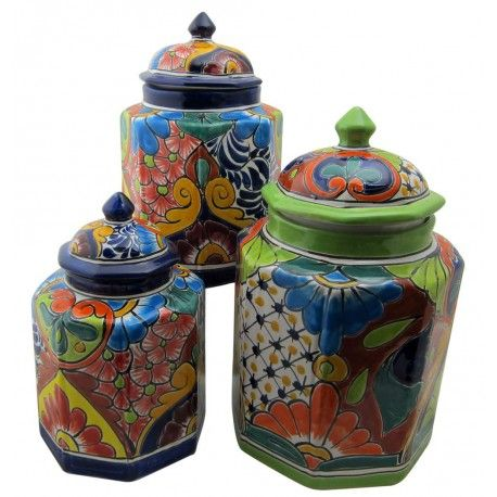 Talavera Cookie Jar Set. Spots of color liven a home. Store pantry staples in the kitchen, or beauty supplies in the bath. Surprise your houseguests with little body and food treats in their room.