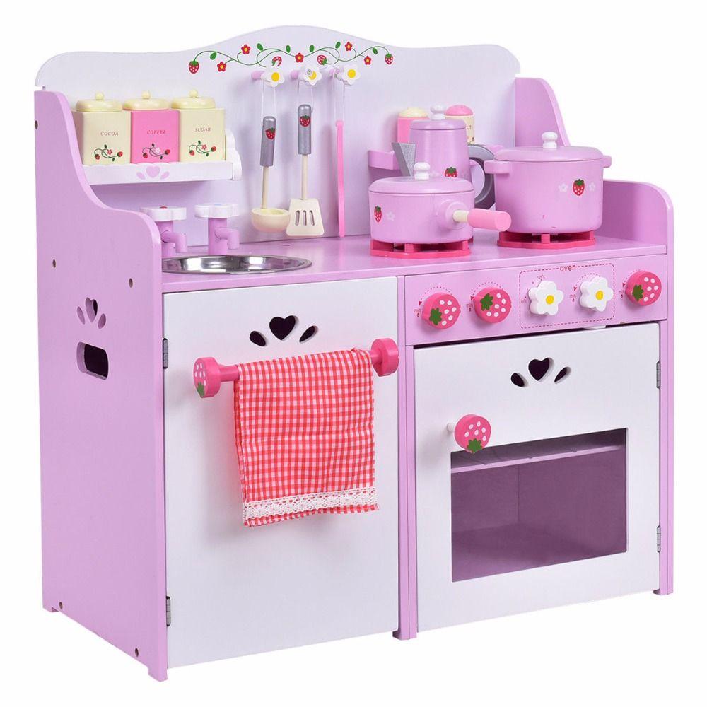 Goplus Kinder Holz Täuschen Spiel-Set Küche Kochen Spielzeug Rosa ...