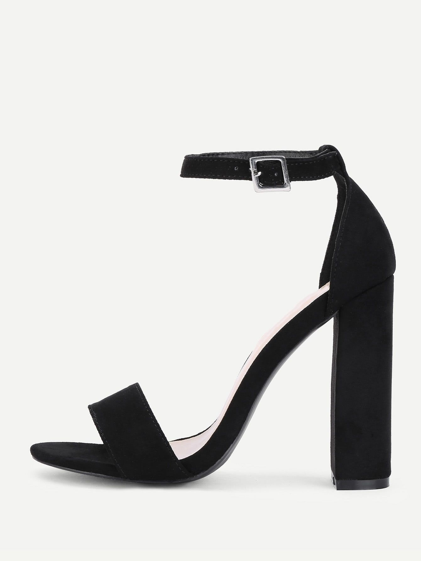e24a7bfa1ac0 Party Open Toe Ankle strap Black High Heel Chunky Two Part Ankle Strap  Block Heeled Pumps
