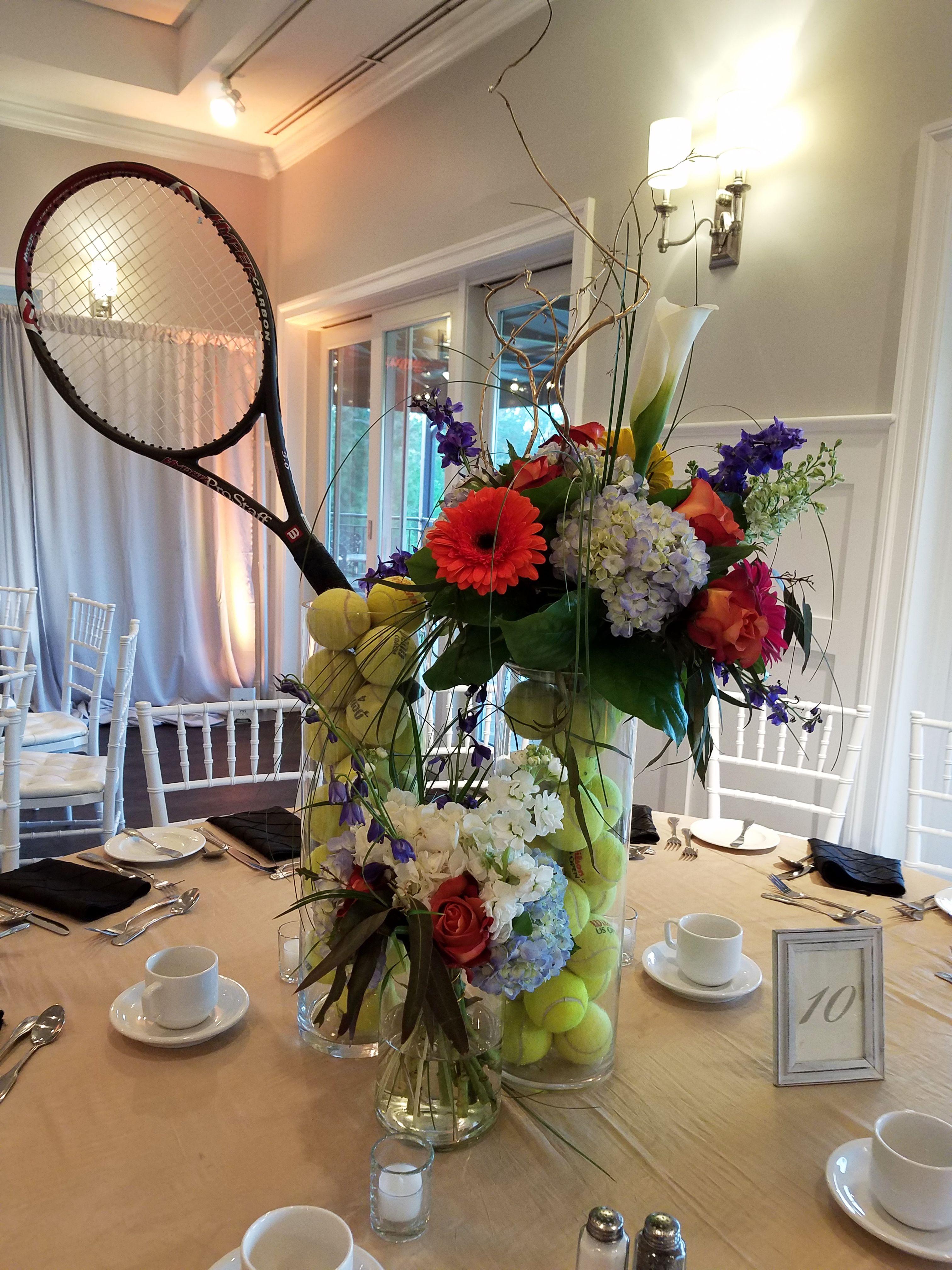 Tennis themed centerpiece florist flowers
