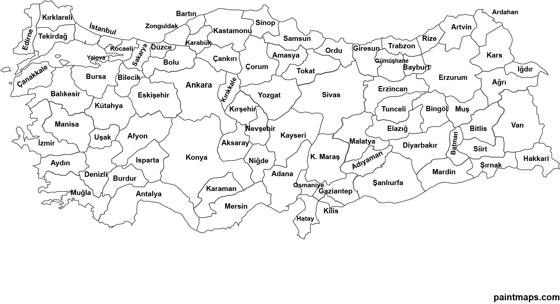 Ücretsiz Turkiye Haritasi Vektorel (EPS, SVG, PDF, PNG