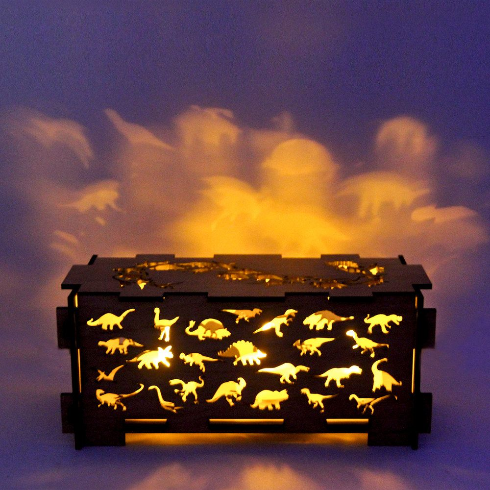Dinosaur wood childrens night light box lamp trinket storage box ...