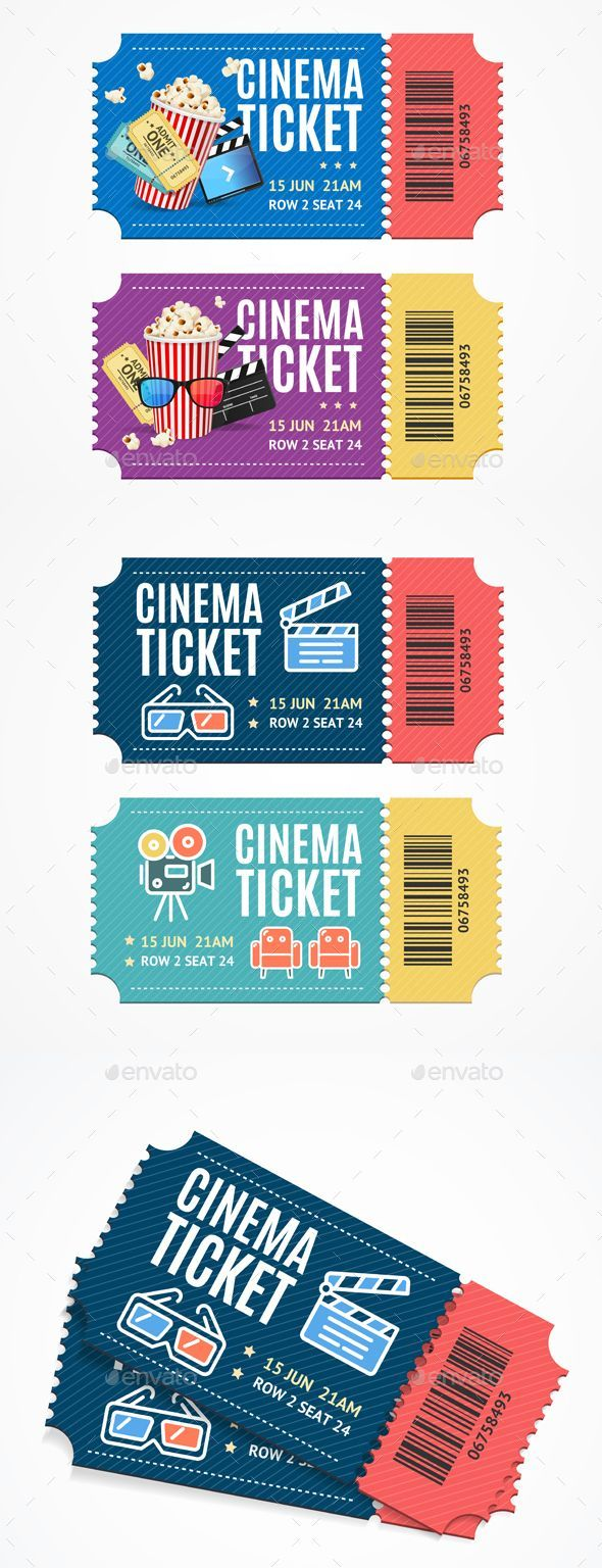 Movie Tickets Set with Elements