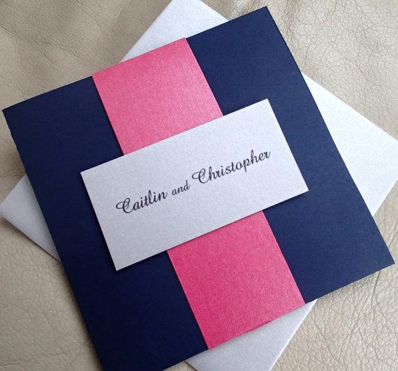 Pocket Fold Wedding Invitation Navy Blue Silver Pink