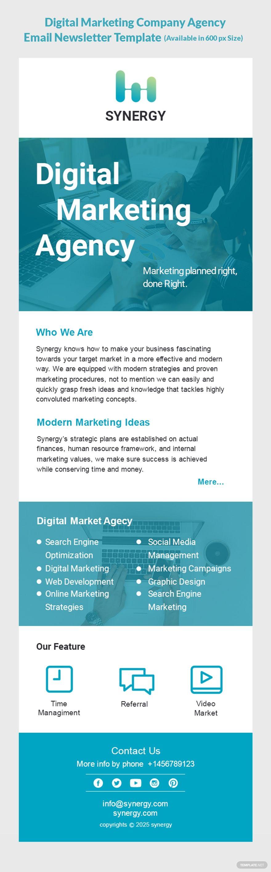 Digital Marketing Company Agency Email Newsletter Template Psd Digital Marketing Strategy Template Digital Marketing Email Newsletter Template