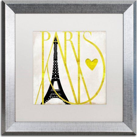 Trademark Fine Art I Love Paris Canvas Art by Color Bakery, White Matte, Silver Frame, Size: 16 x 16, Assorted