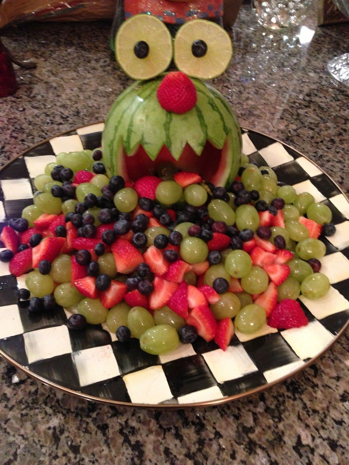 Monster fruit tray for school Halloween party Can you tell