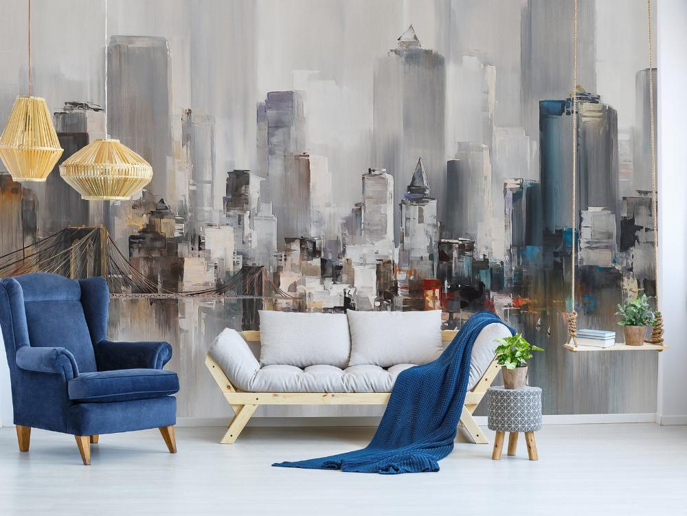 Adhesive Wallpaper Art New York City Peel Stick Diy Project Furniture Backgroud Roommates Artde Peel And Stick Wallpaper Decorating Solutions Room Visualizer
