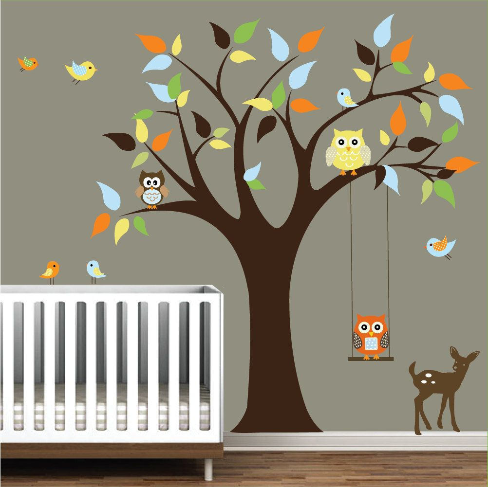 Vinyl Wall Decals Tree Decal With Animals Nursery By Modernwalls - Vinyl wall decals animals
