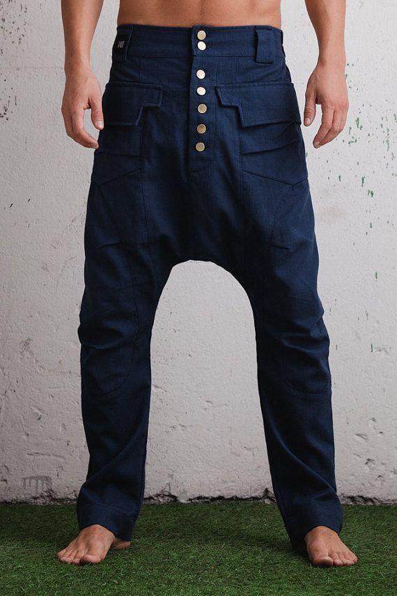 Dropsnatch Blue Black Marble: Elegant Slim Leg Drop Crotch Harem Pants / Drop Crotch