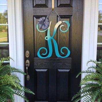 Initial Monogram Front Door Wreath Metal Monogram Door Hanger Front Door Wreath Door Deco Monogram Door Wreath Initial Door Wreaths Wreaths For Front Door