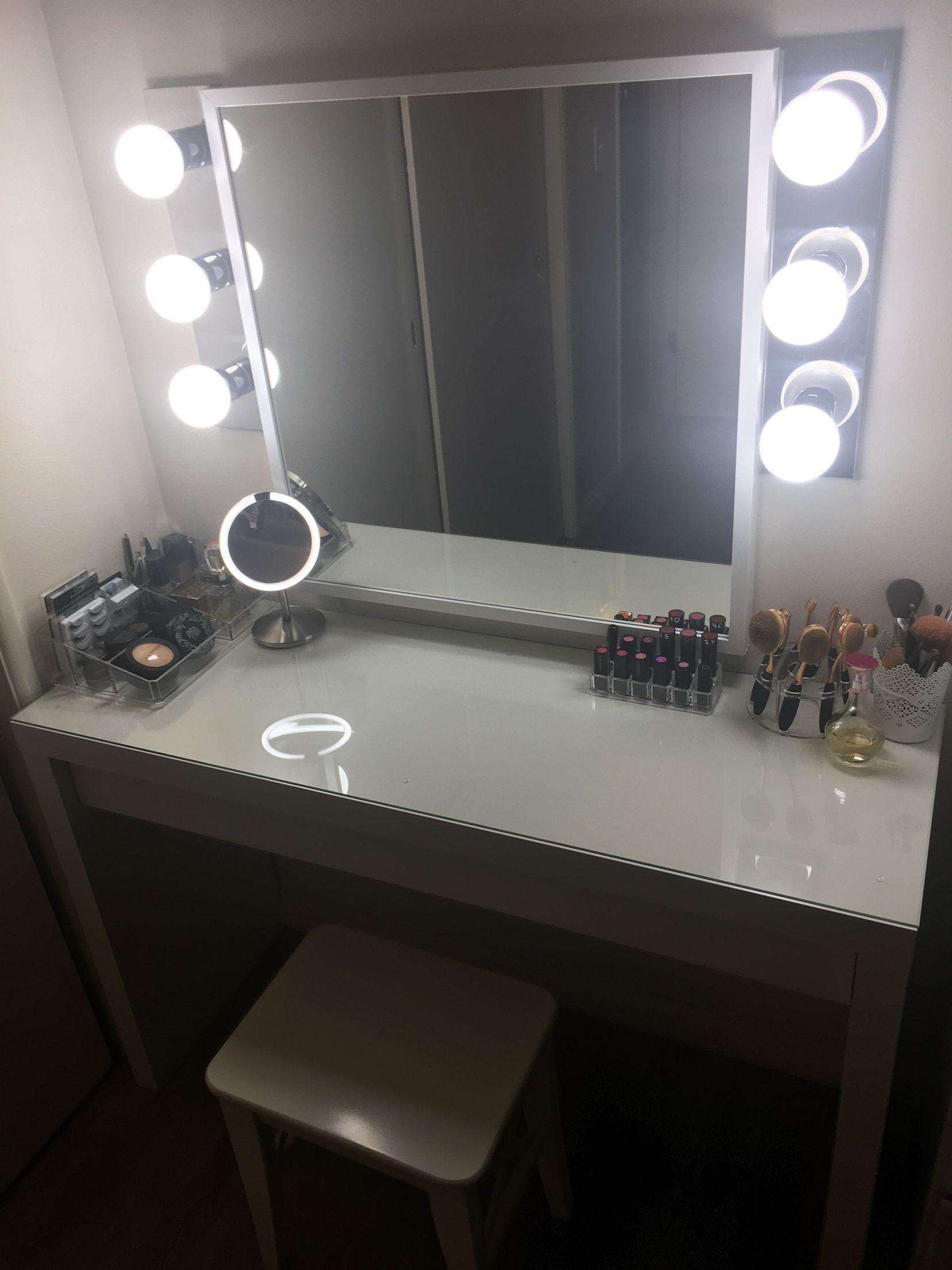 Hollywood Vanity Under $300: Ikea Malm Vanity, Ikea Mirror, Walmart  Bathroom Light Bars