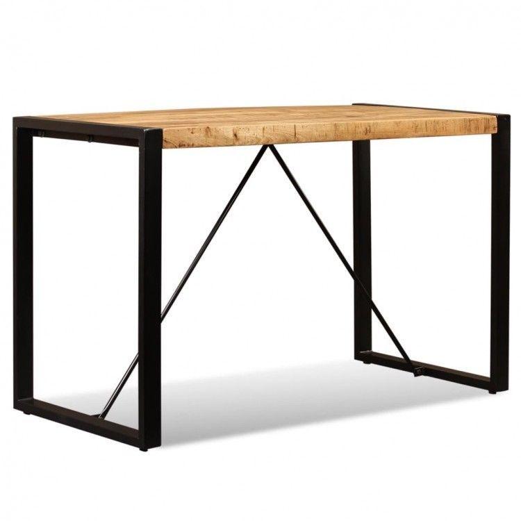 Solid Wooden Dining Table Steel Bar Stand Modern Desk Kitchen Room
