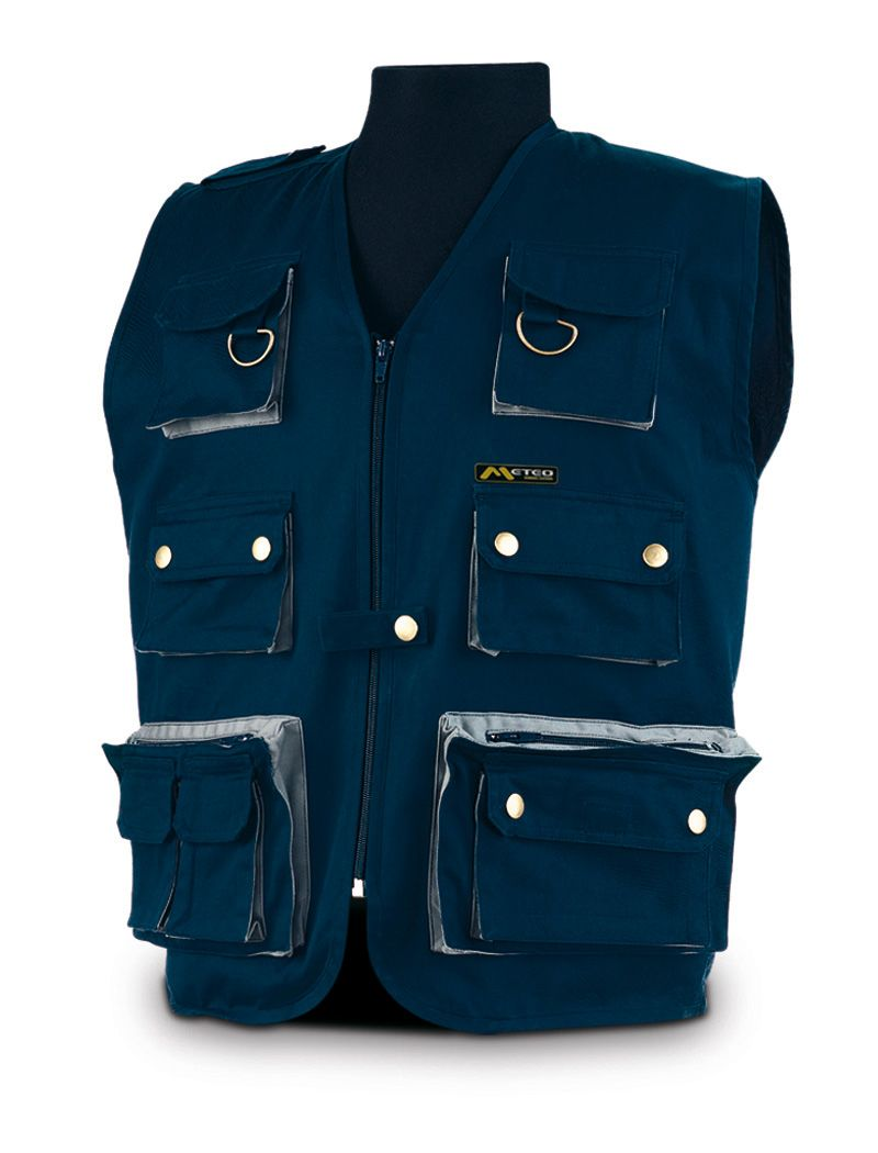 37515c2506180 marcaproteccion Chaleco REPORTERO. Color Azul marino con detalles en ...