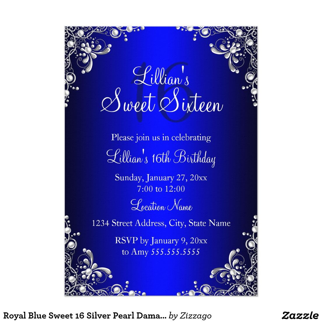 Royal Blue Sweet 16 Silver Pearl Damask 5x7 Paper ...