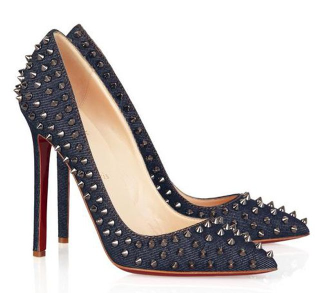 Christian Louboutin Pigalle 120 studded denim pumps $188,distinguished shoes brand on-line shop, such as ysl, yslshoes, ysl shoes.