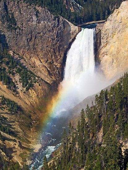 Lower Falls of the Yellowstone with Morning Rainbow by Kenneth Keifer
