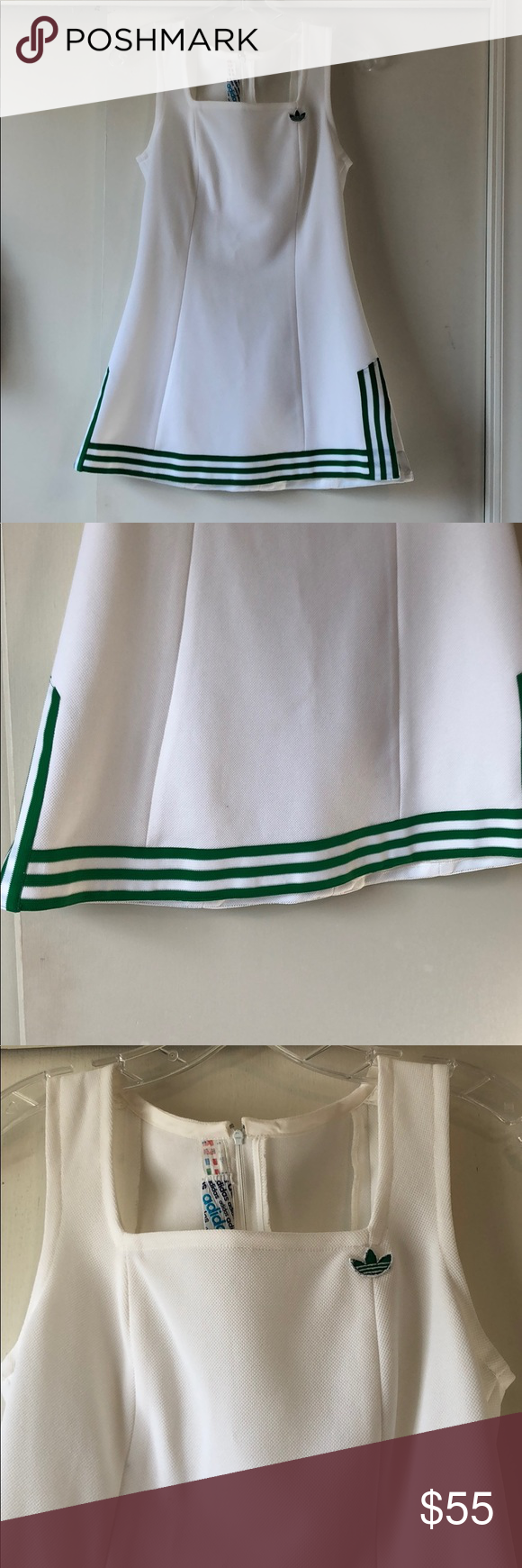 Vintage Adidas Tennis Dress Adorable Vintage Adidas Tennis Dress With Green Accent Color Dress Is Vintage And Was Purchased For A Pa Tennis Dress Vintage Adidas Adidas Dress