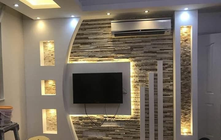 لمسه ديكور جبس تلفزيون Lcd على الجدران House Ceiling Design Modern Tv Wall Units Tv Wall Design