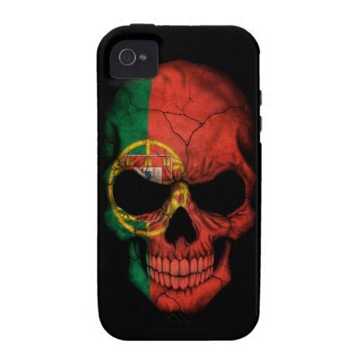 Portuguese Flag Skull on Black Vibe iPhone 4 Case  Portugal