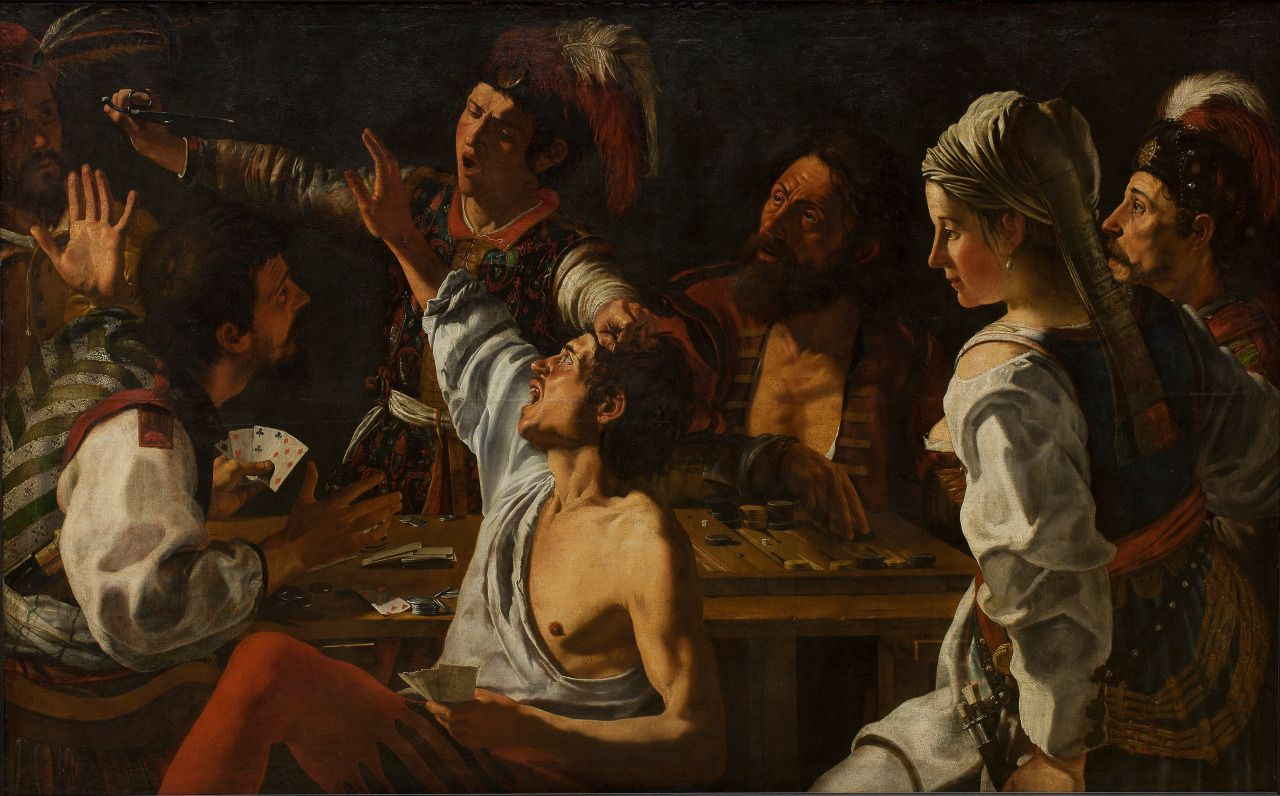 Card and Backgammon Players. Fight over Cards, Theodoor Rombouts, between 1620 and 1629