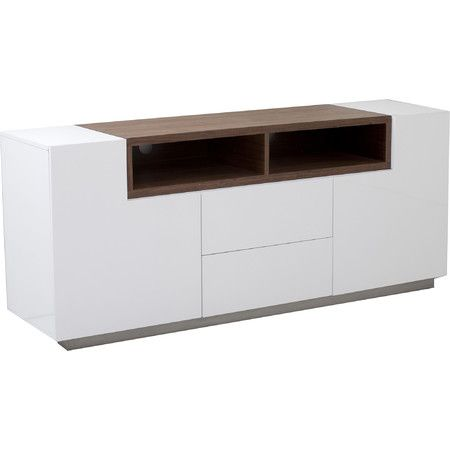 Anchor your television in the den or store DVDs and accessories in the living room with this modern-chic media console, featuring 2 open shelves, 2 drawers, ...