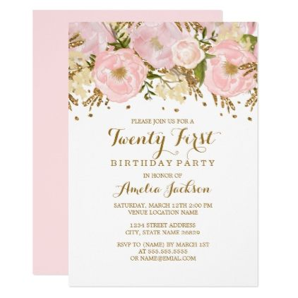 Pretty Blush Pink Gold Floral 21st Birthday Card