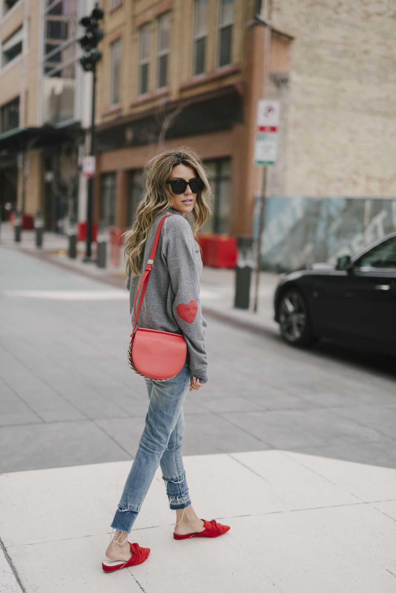 27475ae2bebe Grey red heart sweatshirt++jeans+red knot slides+red crossbody bag+ sunglasses. Late Winter  Valentine s Day Casual Date Outfit 2018
