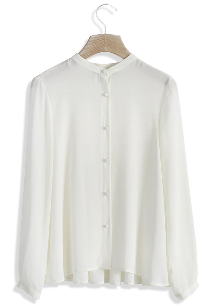 Embrace Pleats Chiffon White Top - this beautiful flowy button up which is classic but with a modern twist would be a great basic for every season. It would be a perfect layering piece for fall and would be great juxtaposed with the heavier fabrics that come out for fall
