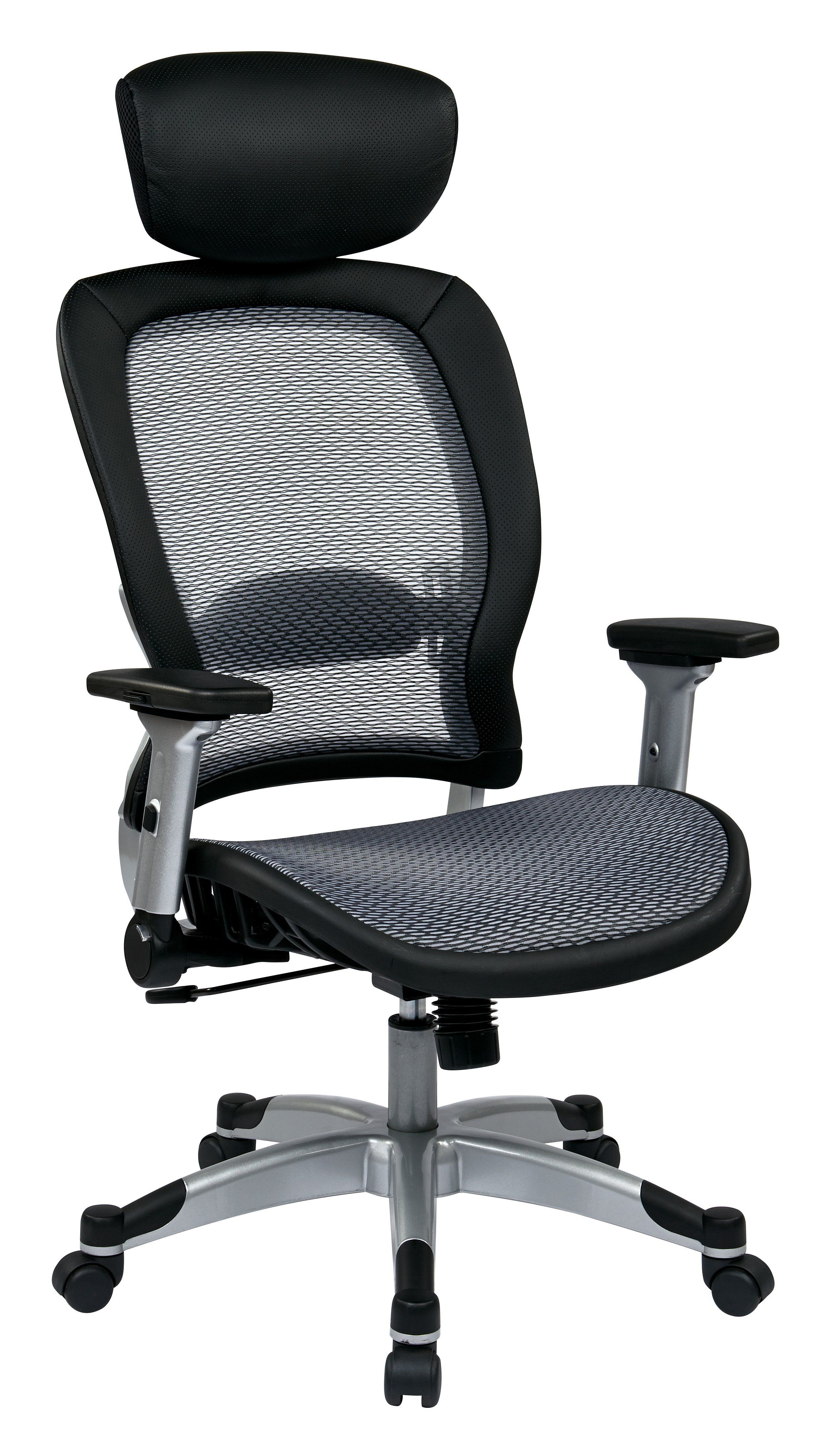 Office Star Platinum Professional Light Air Grid Back And Seat Chair With  Headrest