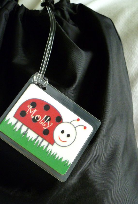 Bag Tag Name Ladybug Style By Toddle Tags Toddletags 5 95