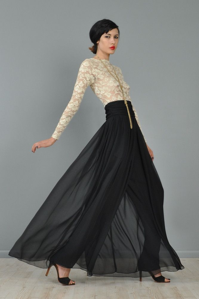d6c73c213e3 High Waisted Chiffon Cigarette + Palazzo Pants + billowing wide brimmed  swaying skirt